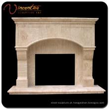 Armação de lareira de pedra natural de mármore de design contemporâneo