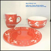 3pcs porcelain dinner set christmas design for BSD1211A
