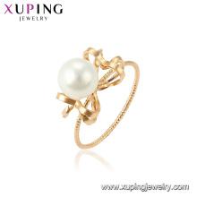 15460 xuping moda resplandor 18k oro imitación perla anillo diseños para dama