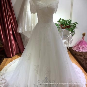 Laço Custom Made Vestido De Novia fora do ombro vestido de noiva Zhongshan