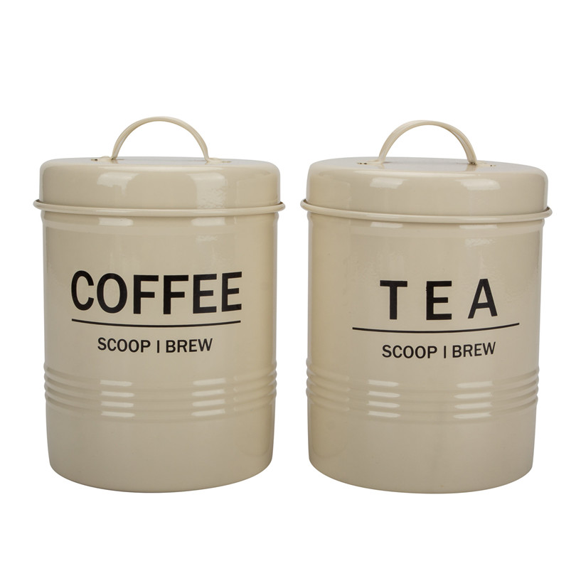 Metal Tea Sugar Canister Set