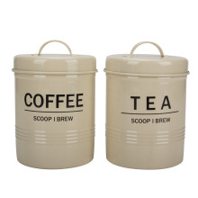 Retro Cream Enamel Tea Coffee Sugar Canisters Jars