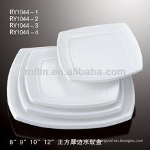Plaque carrée de 8 po à 12 po, plaque carrée en porcelaine pour hôtel