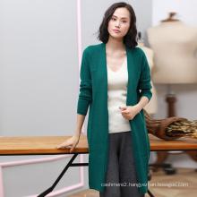 Woolen overcoat women latest design 100% cashmere winter coat dongguan factory knitting long overcoat with pockets