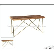 Industrial Mango Holz Top mit Messing Inlay und Metall Beine Konsolentisch