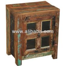 recycle wood glass door cabinet