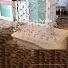 Rideau en perles de cristal rose vente chaude suspendus forme de diamant pour la décoration à la maison qui respecte l'environnement