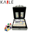 Top Quality Mexican Train Colorful Dots Domino in Aluminum Case