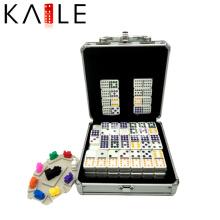 Domino colorido de alta calidad de los puntos del tren Domino en la caja de aluminio