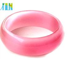 cuentas de piedras preciosas de ojo de gato de cristal brazaletes de vidrio de color rosa grueso