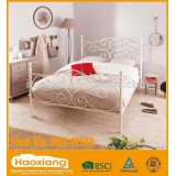 White glossy cheap modern double metal bed