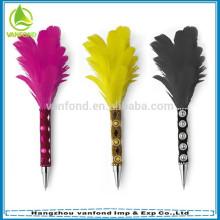 Caneta de pena de alta qualidade, caneta de pena relativa à promoção, brilhando a caneta de pena