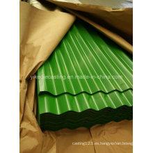 Hoja de techo de acero corrugado galvanizado PPGI