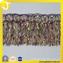 Purple Mixed Yellow Fringe Trimming Tassel For Curtain Slipcover Garment Shade Pillow