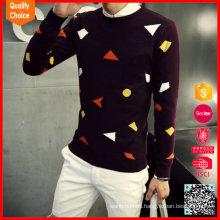2017 moda 100% lana tejiendo patrones suéteres agradables para los hombres