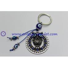 Shambhala round alloy owl evil eye keychain wholesale