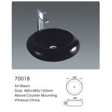 7001b Bathroom Ceramic Round Black Art Basin