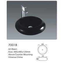 7001b Ванная керамическая круглая черная Art Basin