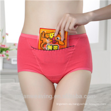 Panty de diseño especial con el bolsillo para la panza caliente cuando las mujeres Periodo de tiempo adulto impermeable panty ropa interior de las mujeres al por mayor