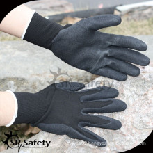 SRSAFTY 13 gauge seamless knitted liner nitrile gloves on palm, sandy finish