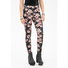 Leggings de estampado floral con cintura Elsaticzed para OEM