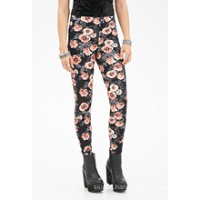 Floral Print Leggings with Elsaticzed Waist for OEM