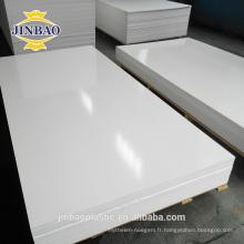 JINBAO 4x8ft 4x6ft couleur blanche 15mm 18mm pvc feuille pour porte de salle de bain