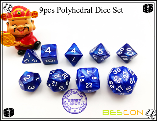 9pcs Polyhedral Dice Set
