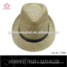 mixed color lady crochet fedora hat