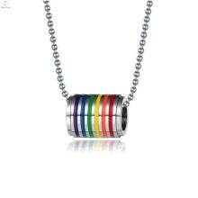 Collar de anillos de compromiso de orgullo gay de acero inoxidable de precio barato joyería de orgullo gay