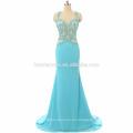 Vestido elegante del baile de fin de curso de las mujeres elegantes de lujo azul del baile de fin de curso de la sirena atada con cordones atractiva larga del diseño