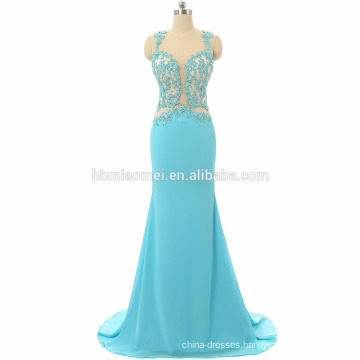 2017 Elegant women luxury blue prom dress sexy long design backless laced mermaid custom prom dress