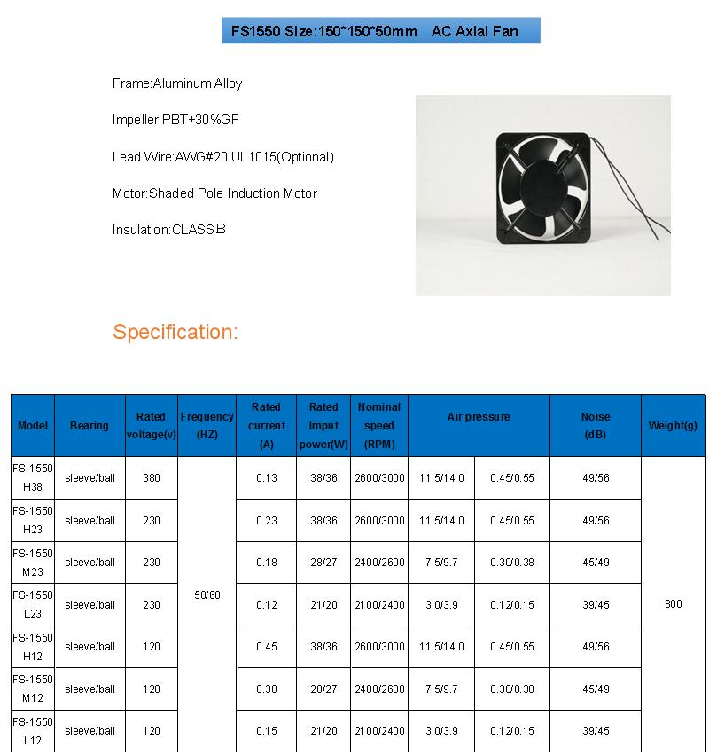 15050 AC industry cooling fan