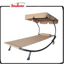 Chaise Lounge Chair al aire libre Cama de hamaca con toldo y ruedas