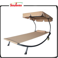 Outdoor Chaise Lounge Chair Hammock Bed with Canopy and Wheels