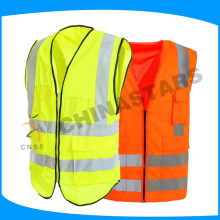 low price high visibility red safety vest with zipper