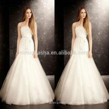 Famoso vestido de novia en línea de venta 2014 Strapless palabra de longitud Tulle hizo patrones de vestido de boda de sirena China por encargo NB0757