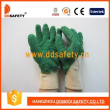 Luvas de algodão verde látex dobra luvas terminadas, aberto para trás (dcl404)