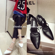 2016black white buckle slingback pointed toe ladies shoes