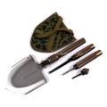Pá de sobrevivência militar de tamanho grande com faca de enxada