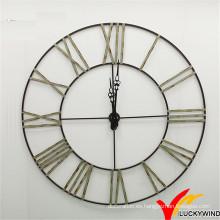 Nuevo diseño Anatique Decorar Romano Numeral Grande Reloj de pared redondo de metal