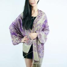 Großhandelsfrauen-Art- und Weisegrün-Farben-lange warme weiche Schals Jacquardwebstuhl-Paisley-Schal-Baumwolle verpackt Pashmina Quasten