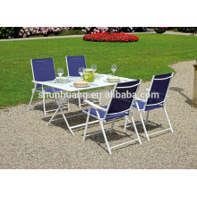 Promotional outdoor garden aluminum frame furniture metal tables folding chairs