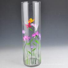 Florero de cristal alto redondo pintado a mano con capacidad 1L