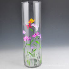 Hand Painted Round Shaped Tall Glass Vase with Capacity 1L