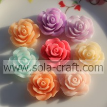 24MM Solid Color Resin Rose Flower Beads For Jewelry Making