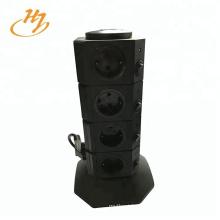 Enchufe de torre vertical negro de 2 USB y 4 capas