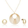 Pendiente de collar de círculo multicapa chapado en oro para las mujeres