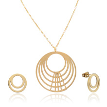 Banhado a ouro Multilayer Circle Necklace Earring Set Para Mulheres