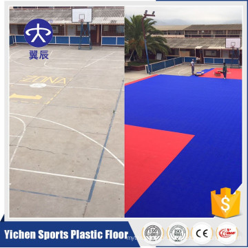 Outdoor basketball court floor PP interlocking tiles